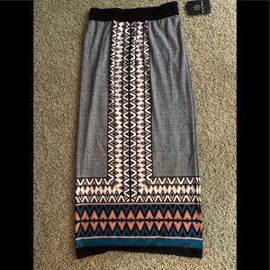 Long straight geometric print skirt by Cato